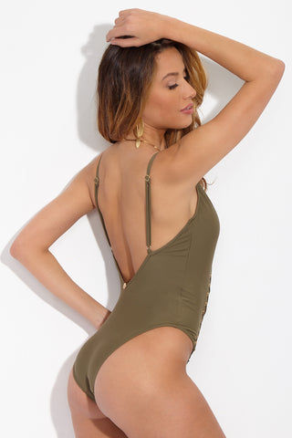 GAEL LONDON Sahara Scoop Neck Lace Up One Piece Swimsuit - Olive One Piece | Olive| Gael London Olive Sahara One Piece
