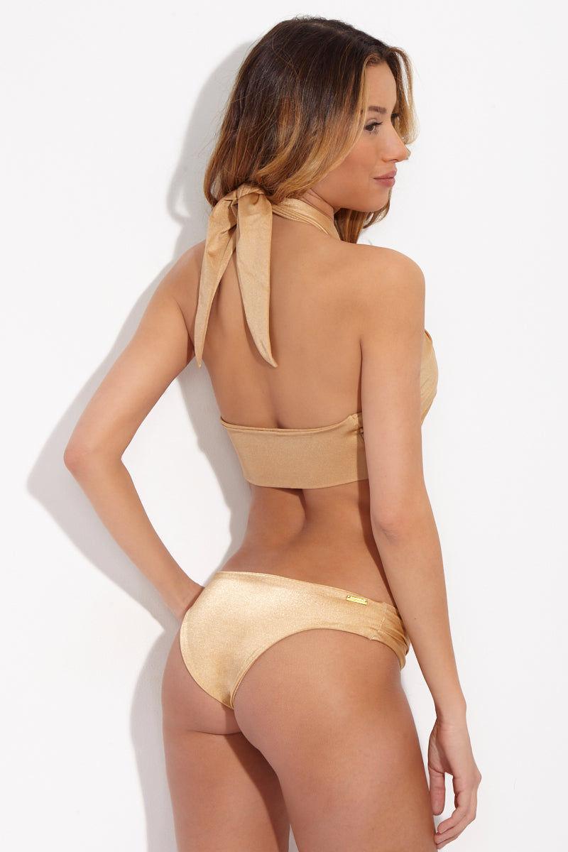 SARA CRISTINA Gold Wrap Bikini Top Bikini Top | Gold| Sara Cristina Gold Wrap Bikini Top Luxe gold multiway wrap top with accompanying gold ring.