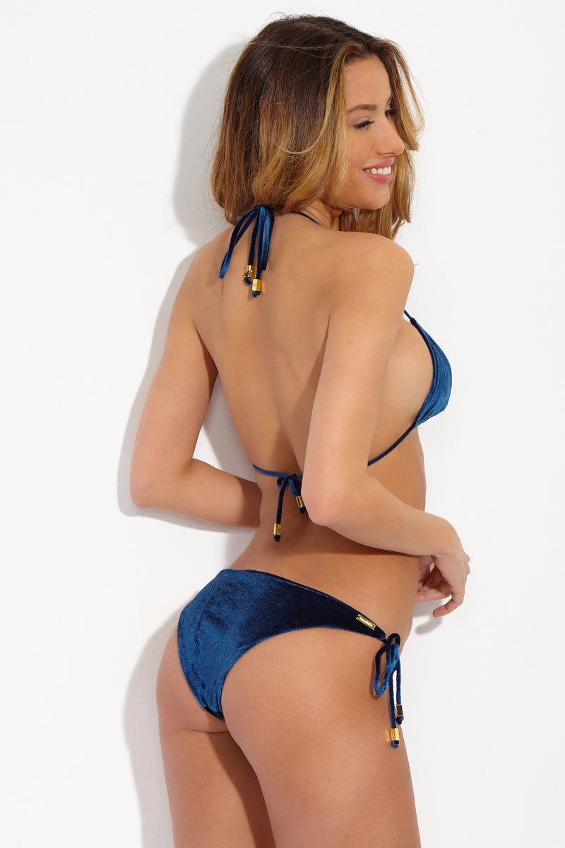 3e6a9fb37d ... SARA CRISTINA Triangle Halter Bikini Top - Blue Velvet Bikini Top