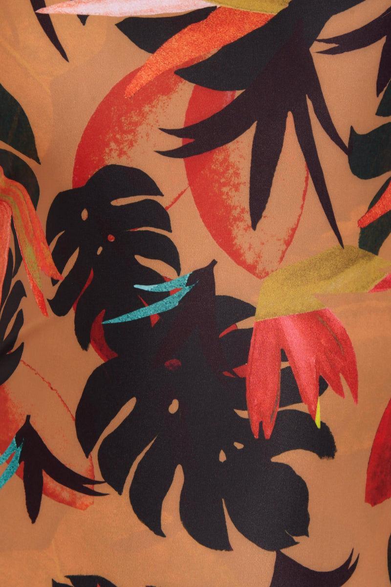 STONE FOX SWIM Kalua Long Sleeve Rashguard Bodysuit- Vibration Tropical Print One Piece | Vibration Tropical Print| Stone Fox Swim Kalua Long Sleeve Rashguard Bodysuit- Vibration Tropical Print High Neck Long Sleeve Rashguard One Piece Swimsuit Front View