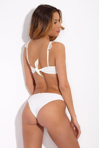 FOR LOVE AND LEMONS La Rochelle Low Rise Bikini Bottom - White Lace Bikini Bottom | White Lace| for love and lemons grenada one piece
