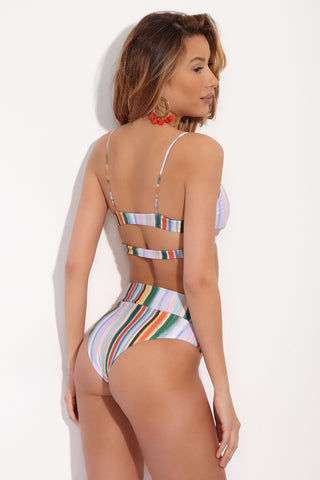 STONE FOX SWIM Palo Watercolor Cut Out Bikini Top - Lively Up Print Bikini Top | Lively Up| Stone Fox Swim Palo Watercolor Cut Out Top - Lively Up Print Back Side View. Scoop Neckline. Cut Out Side Detail. Back Cut Out With Double Straps. Thin Spaghetti Straps