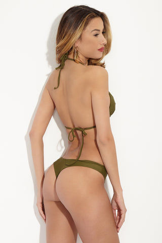 STONE FOX SWIM Shell Halter Triangle Bikini Top - Olive Green Bikini Top | Olive Green| Stone Fox Swim Shell Halter Triangle Bikini Top - Olive Green Classic V-neck adjustable halter seamless bikini top in olive green. The triangle bust cups can be scrunched to reveal more skin, or stretched full for more coverage. Adjustable halter straps offer extra bust support and tie behind the neck for the perfect amount of lift. Adjustable ties at back can be tied as loose or tight as needed for the perfect fit. Back View