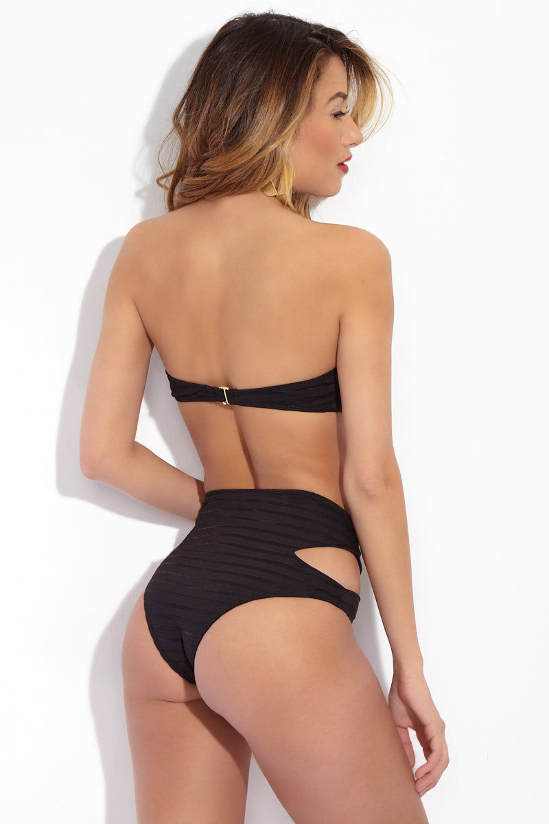 BEACH RIOT Whitney Mesh Cut Out High Waist Bikini Bottom - Black Bikini Bottom | Black| Beach Riot Whitney Mesh Cut Out High Waist Bikini Bottom - Black high-waisted bikini bottom. Mesh striped textured fabric. Side cut outs. Cheeky coverage. Back View