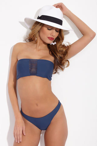 MIKOH Lahaina Bottom - Drop Off Blue Bikini Bottom | Drop Off Blue|Mikoh Lahaina Bikini Bottom Front View Low-Rise Bikini Bottom Skimpy Rear Coverage Double Lined Hardware-Free Seamless