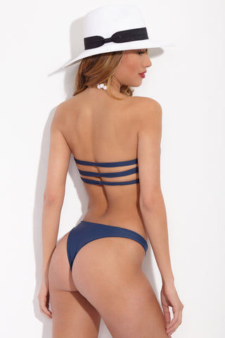 MIKOH Lahaina Bottom - Drop Off Blue Bikini Bottom | Drop Off Blue|Mikoh Lahaina Bikini Bottom Back View Low-Rise Bikini Bottom Skimpy Rear Coverage Double Lined Hardware-Free Seamless