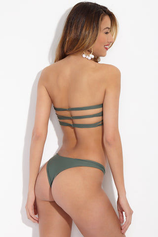 MIKOH Sunset Top - Army Bikini Top | Army| Mikoh Sunset Bikini Top Back View Strapless Bandeau Bikini Top Ladder Strap Detailing Cut Outs at Front and Back Strappy Back Design Double Lined Seamless Hardware-Free