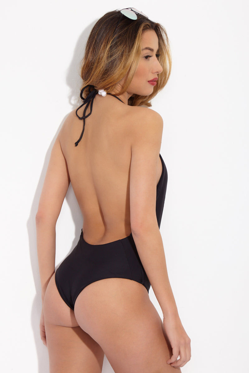 MIKOH Hinano One Piece - Night One Piece | Night| MIKOH Hinano One Piece Back View Plunging Deep-V Neckline One Piece Swimsuit Mid-Rise Leg Cut Adjustable Halter Straps Open Back Cheeky Coverage