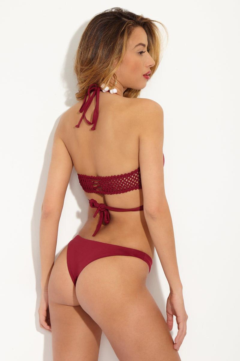 FRANKIES BIKINIS Charlie Cheeky Bikini Bottom - Maroon Red Bikini Bottom | Maroon Red| Frankies Bikinis Charlie Cheeky Bikini Bottom - Maroon Red Seamless bottom Cheeky coverage  79% Nylon, 21% Spandex  Back View