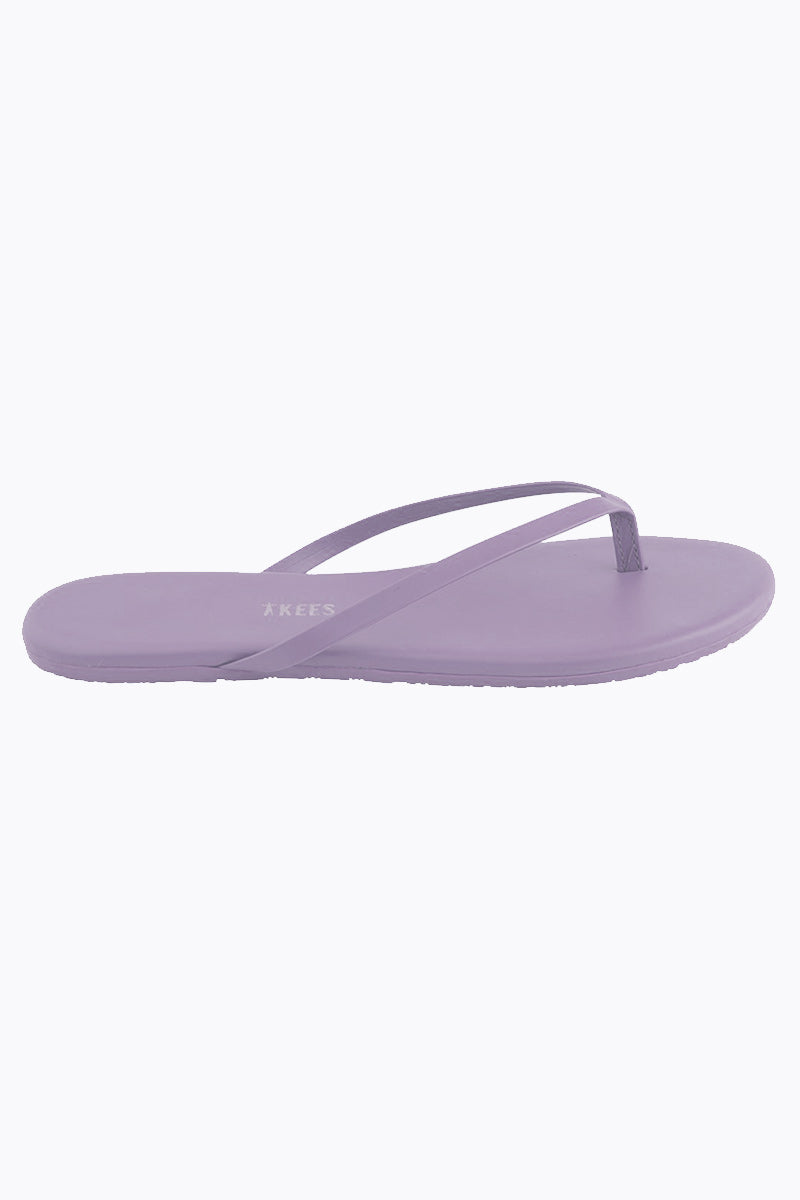 TKEES Solids Sandals - No. 12 Purple Sandals | No. 12 Purple| Tkees Solids Sandals - No. 12 Purple Classic Flip Flops in Light Purple Color Made in Brazil    Material:  Leather Upper Leather Insole Rubber Outsole Side View