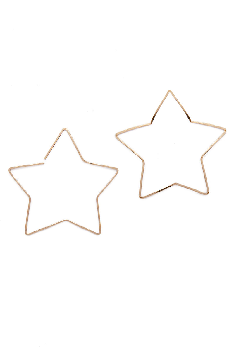 PARADIGM DESIGN Large Gold Star Hoops Jewelry | Gold| Paradigm Design Large Gold Star Hoops