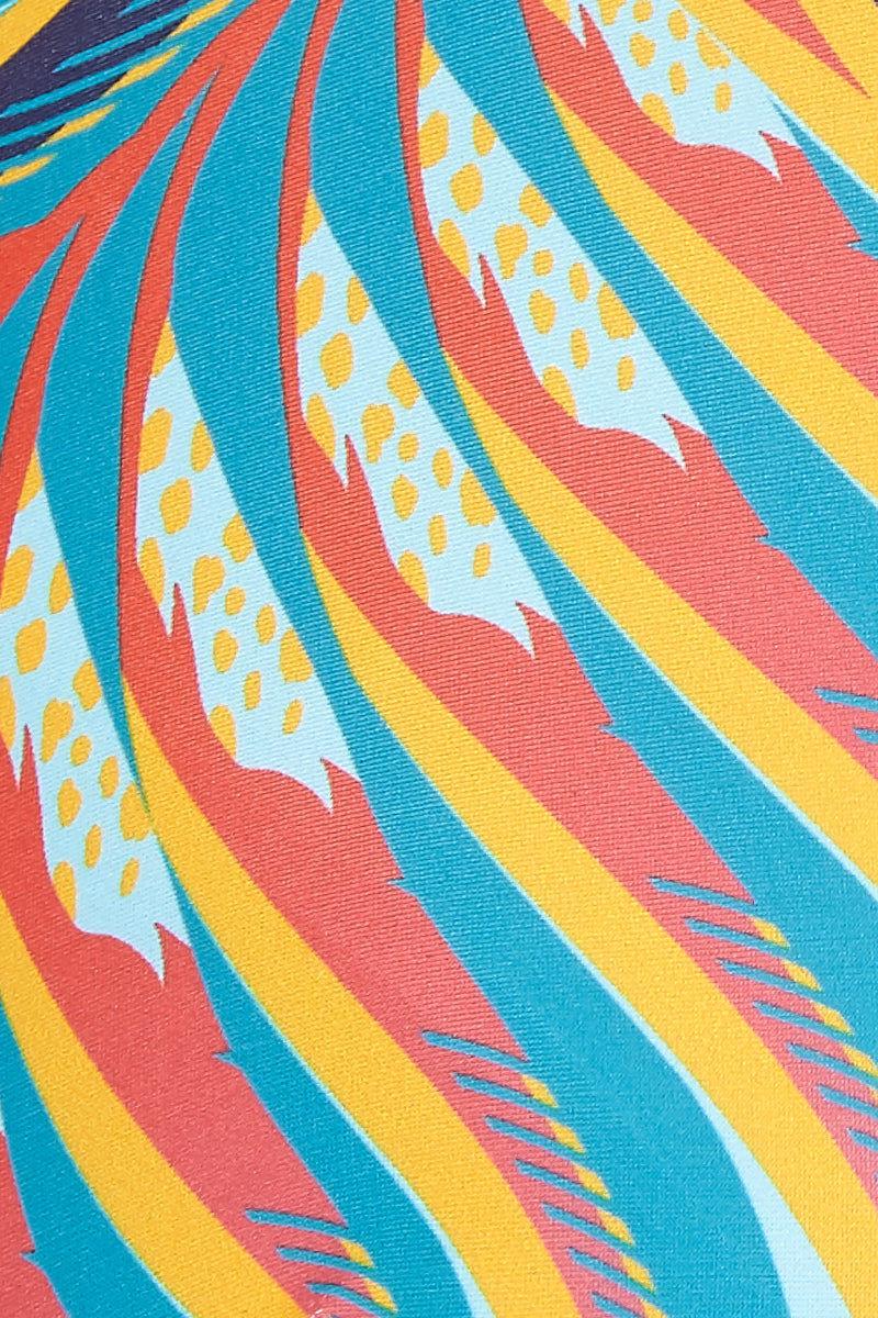 ANDREA IYAMAH Terra Bikini Top Bikini Top | Terra Print| Andrea Iyamah Terra Bikini Top Multicolor Vibrant T-Shirt Style Bikini Top Cap Sleeves Mirrored Feather Print Molded Bust Cups Underwire Cut Out at Back