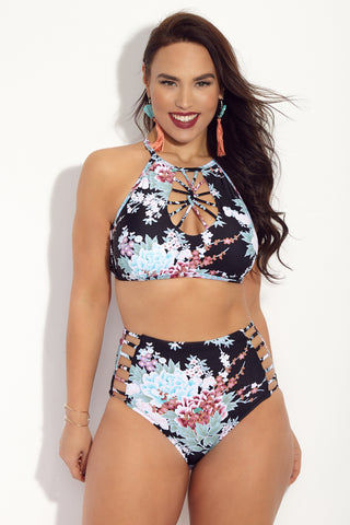 RAISINS CURVE Cala High Neck Bikini Top (Curves) - Floral Print Bikini Top | Floral Print| Raisins Curve  Cala High Neck Bikini Top (Curves) - Floral Print. Features plus size high neck bikini top with a strappy neck detail and turquoise, white, and muted red floral print.