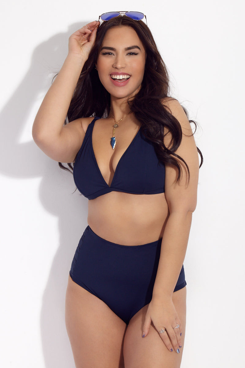 ROBYN LAWLEY Lucia High Waist Bikini Bottom (Curves) - Navy Bikini Bottom | Navy| Robyn Lawley Lucia High Waist Brief Bottom High waist plus size brief bikini bottom in navy blue. Good for shaping and smoothing. Semi-sheer mesh panels. Made exclusively for curvy women.