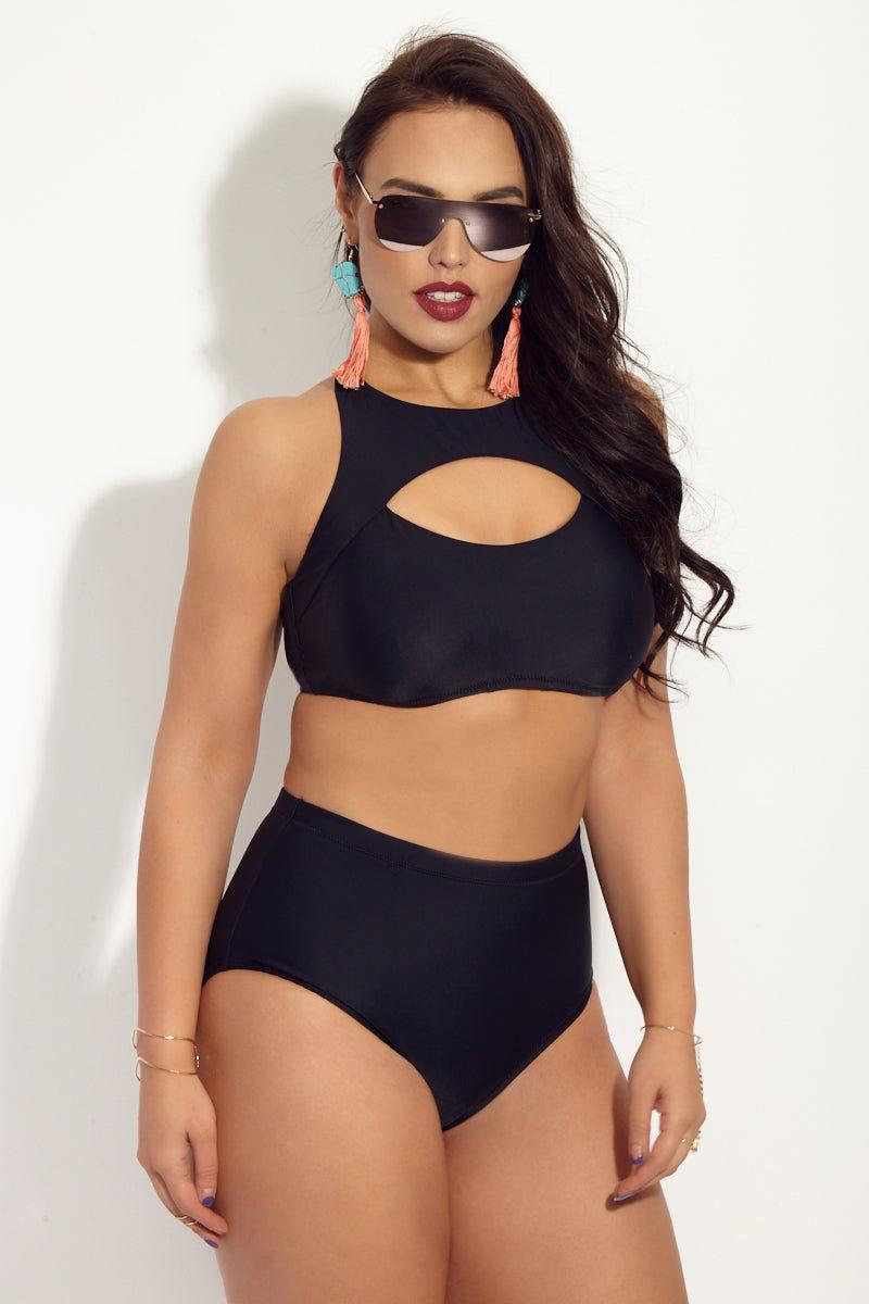 RAISINS CURVE Encinitas High Neck Bikini Top (Curves) - Black Magic Bikini Top | Black Magic| Raisins Curve Encinitas High Neck Bikini Top (Curves) - Black Magic. Features: High Neck Bikini top. Cut out front detail. Bra cups. Racerback detail.