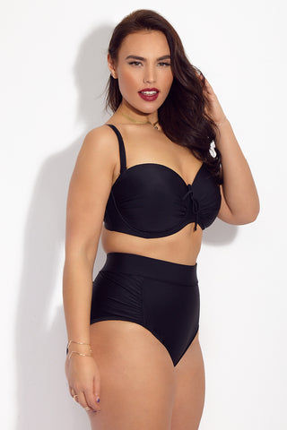 SKYE+ Julia Sweetheart Neckline Bikini Top (Curves) - Black Bikini Top | Black| SKYE+ Julia Sweetheart Neckline Bikini Top (Curves) - Black. Features: Classic black plus size bikini top with sweetheart neckline. Underwire design for added support. Flattering sweetheart neckline to complement bust and to provide coverage. Thick adjustable straps for comfort and support.