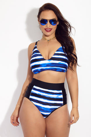 SKYE+ Neve V Neck Bikini Top (Curves) - Tanami Bikini Top | Tanami| SKYE+ Neve V Neck Bikini Top (Curves) - Tanami. Features: Blue, black, and white allover watercolor-inspired stripe plus size bikini top. Made from smooth, stretchy swim fabric that moves with your body. Padded cups to shape, support, and define the bust.