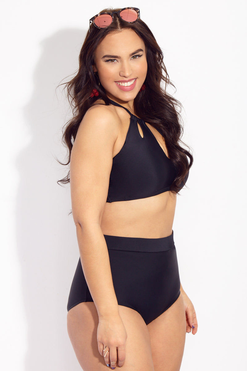 RAISINS CURVE Rosalie High Neck Bikini Top (Curves) - Black Magic Bikini Top | Black Magic| Raisins Curve Rosalie High Neck Bikini Top (Curves) - Black Magic. Features: plus size bikini top with high neck and three keyhole openings and corset-style back straps.