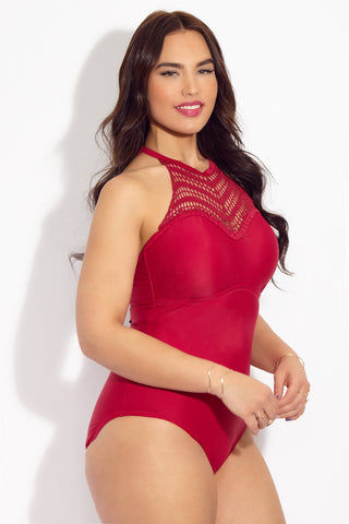 RAISINS CURVE Lotus High Neck One Piece Swimsuit (Curves) - Red Wine One Piece | Red Wine| Raisins CurveLotus High Neck One Piece Swimsuit (Curves) - Red Wine. Features: Raspberry red high neck one piece bathing suit with strung through halter straps. High neck sweetheart top with crochet insert.