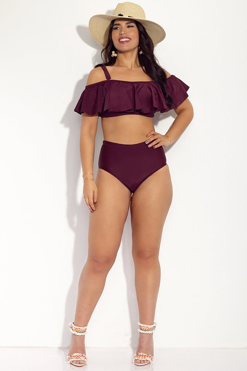 RAISINS CURVE Tortuga Flounce Off The Shoulder Bikini Top (Curves) - Merlot Chiffon Bikini Top | Merlot Chiffon| Raisins Curve Tortuga Flounce Off The Shoulder Bikini Top (Curves)  - Merlot Chiffon. Features: Off the shoulder plus-size bikini top in an elegant deep purple shade. Ruffle hem for a feminine feel. Adjustable straps for desired bust fit. Built-in non-removable soft cups for a smoothing the bust area. Hemline under bust for even more shape enhancement. Fully Lined