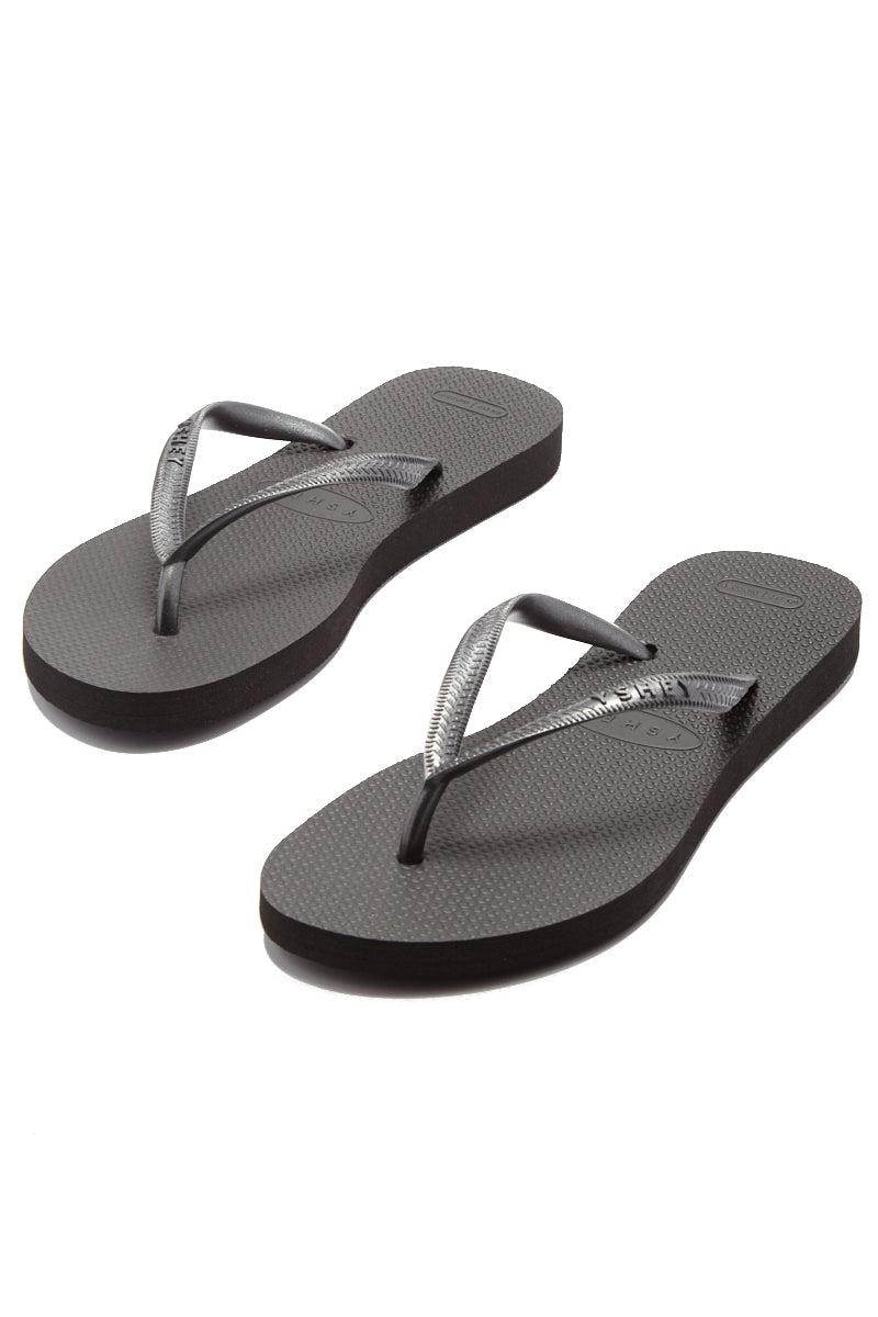 YSHEY Coral Dark Mocha Flip Flops Accessories | Dark Mocha| YSHEY Carol Flip Flops - set view versatile and comfortable rubber flip flop, metallic black mesh strips