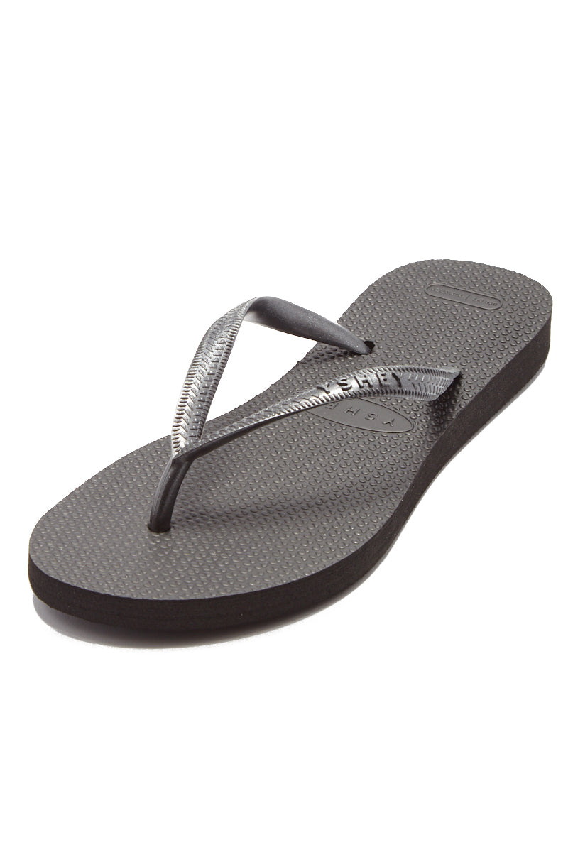 YSHEY Coral Dark Mocha Flip Flops Accessories | Dark Mocha| YSHEY Carol Flip Flops - Top view versatile and comfortable rubber flip flop, metallic black mesh strips