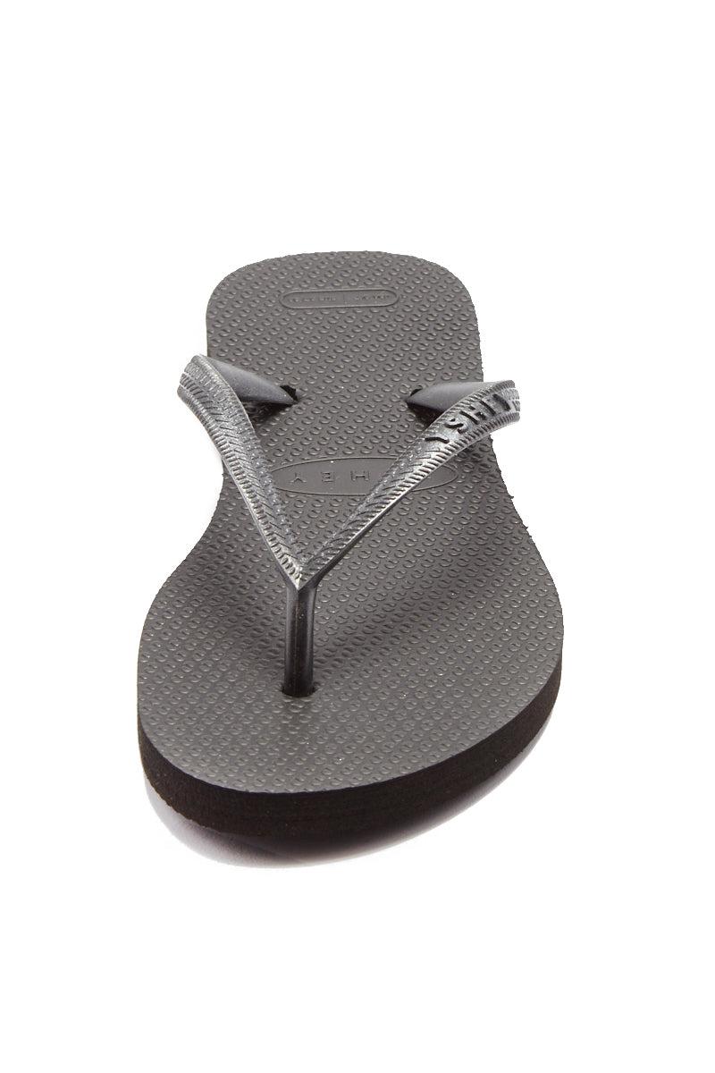 YSHEY Coral Dark Mocha Flip Flops Accessories | Dark Mocha| YSHEY Carol Flip Flops - front view versatile and comfortable rubber flip flop, metallic black mesh strips