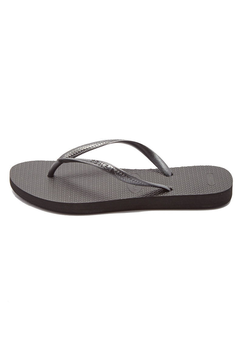 YSHEY Coral Dark Mocha Flip Flops Accessories | Dark Mocha| YSHEY Carol Flip Flops - side view versatile and comfortable rubber flip flop, metallic black mesh strips