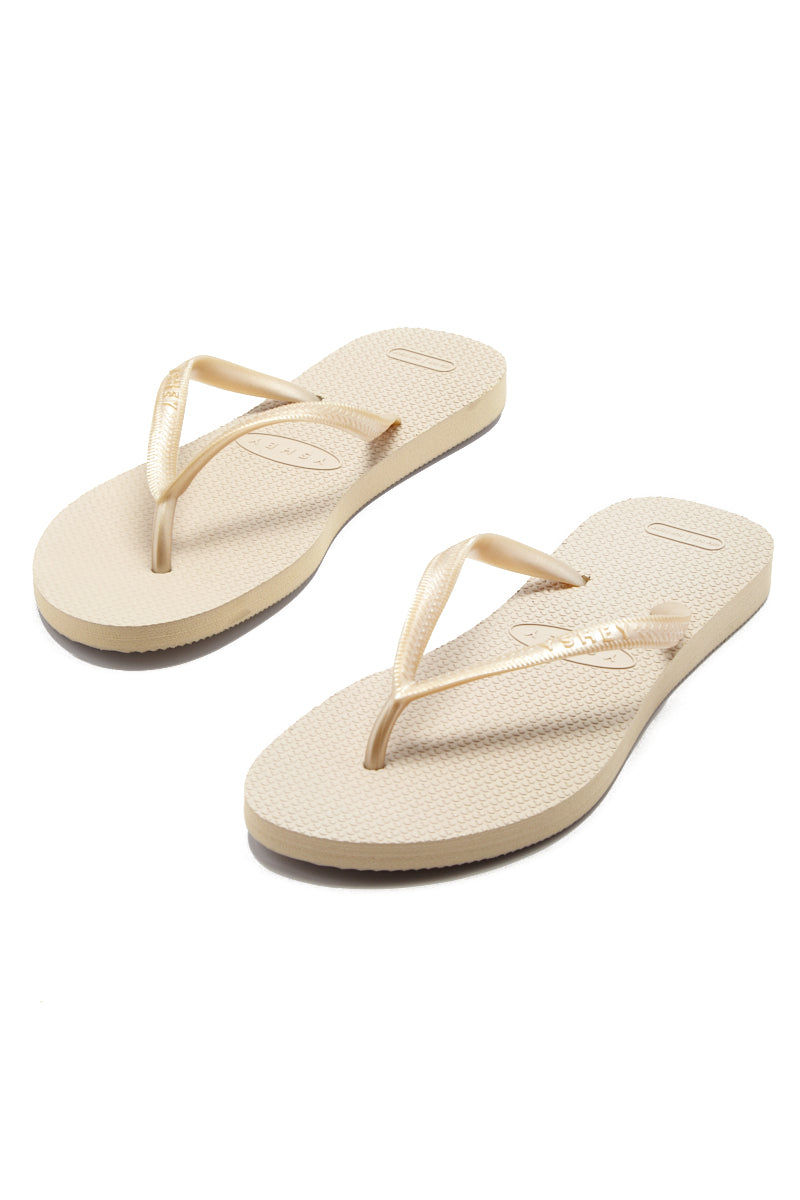 YSHEY Carol Champagne Flip Flops Accessories | Champagne| YSHEY Carol Flip Flops - set view versatile and comfortable rubber flip flop, rose gold mesh strips