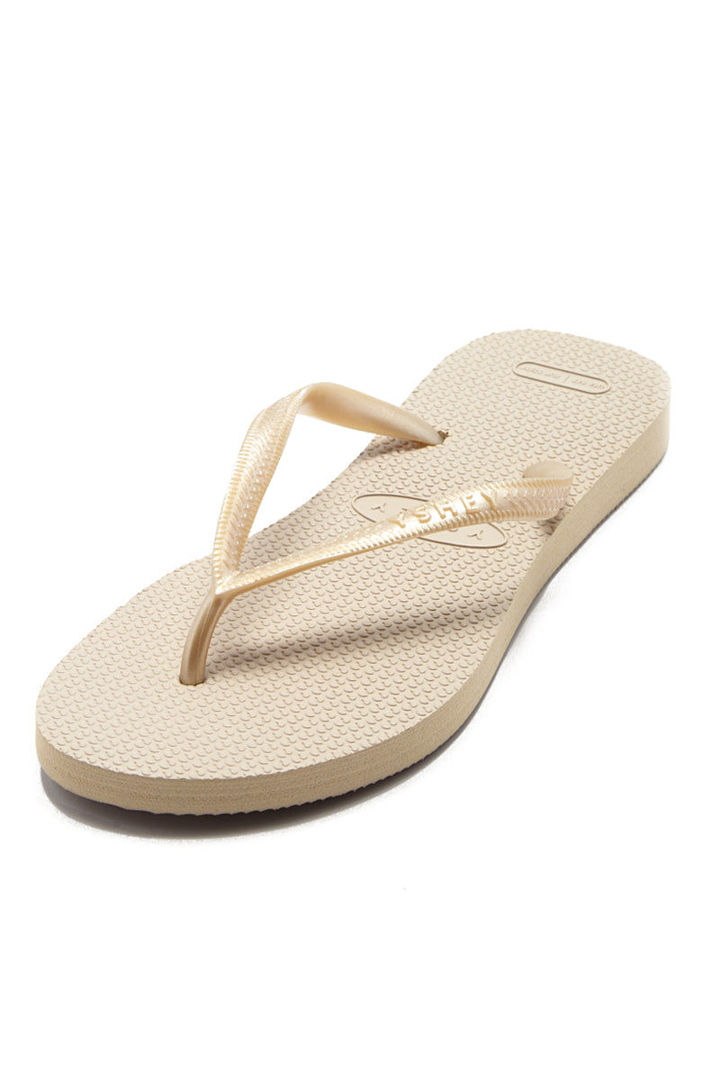 YSHEY Carol Champagne Flip Flops Accessories | Champagne| YSHEY Carol Flip Flops - Top view versatile and comfortable rubber flip flop, rose gold mesh strips