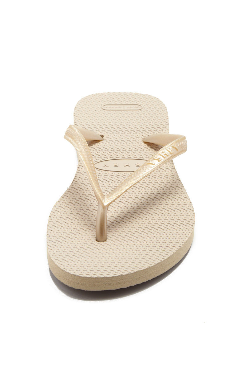 YSHEY Carol Champagne Flip Flops Accessories | Champagne| YSHEY Carol Flip Flops - front view versatile and comfortable rubber flip flop, rose gold mesh strips