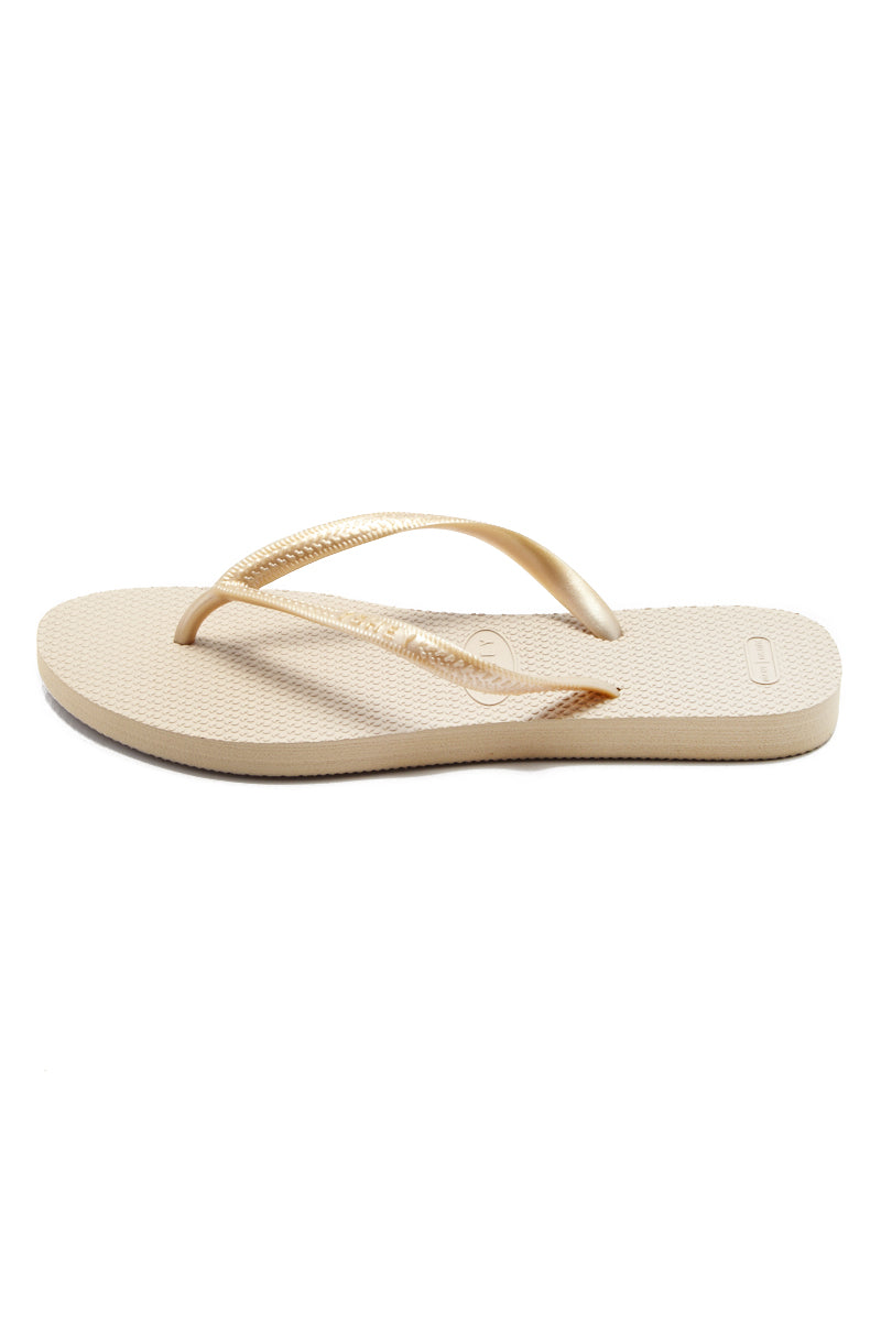 YSHEY Carol Champagne Flip Flops Accessories | Champagne| YSHEY Carol Flip Flops - side view versatile and comfortable rubber flip flop, rose gold mesh strips