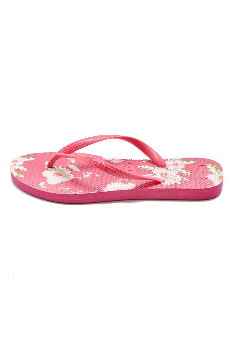 YSHEY Ema Juicy Jungle Flip Flops Accessories | Deep Pink| YSHEY Ema Flip Flops - side view versatile and comfortable rubber flip flop, lily flower print pink mesh on strips