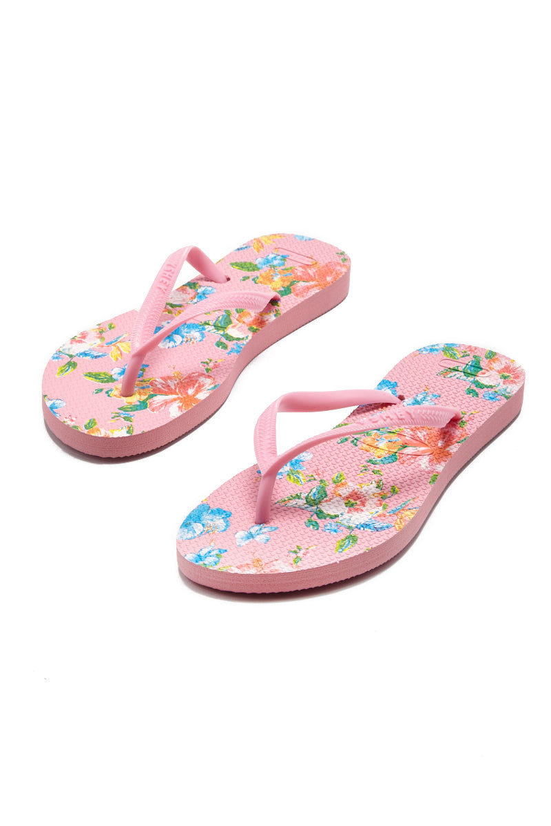 YSHEY Ema Amazon Lily Flip Flops Accessories | Pink| YSHEY Ema Flip Flops - set view versatile and comfortable rubber flip flop, maui flower print pink mesh on strips