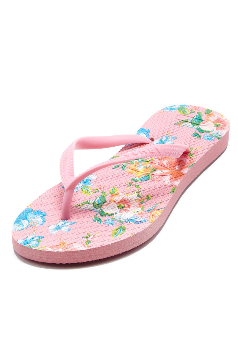 YSHEY Ema Amazon Lily Flip Flops Accessories | Pink| YSHEY Ema Flip Flops - Top view versatile and comfortable rubber flip flop, maui flower print pink mesh on strips