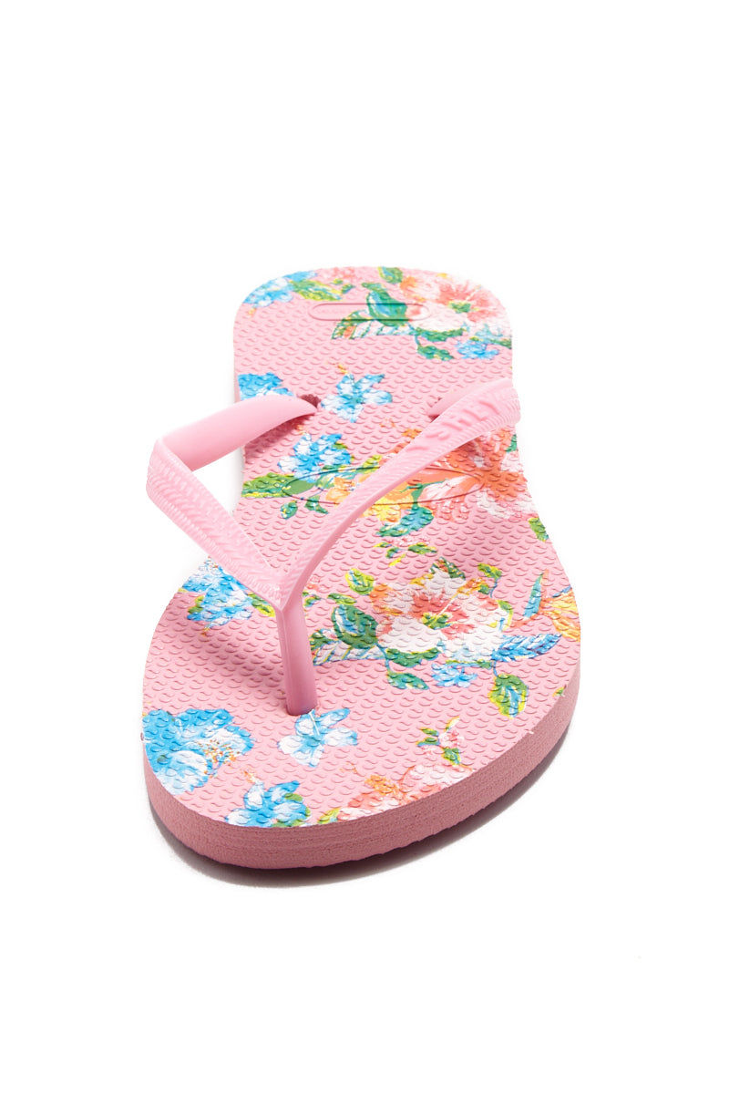 YSHEY Ema Amazon Lily Flip Flops Accessories | Pink| YSHEY Ema Flip Flops - front view versatile and comfortable rubber flip flop, maui flower print pink mesh on strips