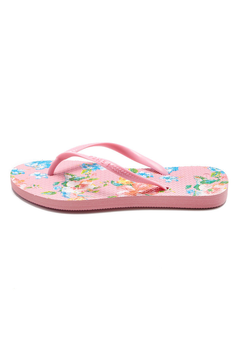 YSHEY Ema Amazon Lily Flip Flops Accessories | Pink| YSHEY Ema Flip Flops - side view versatile and comfortable rubber flip flop, maui flower print pink mesh on strips