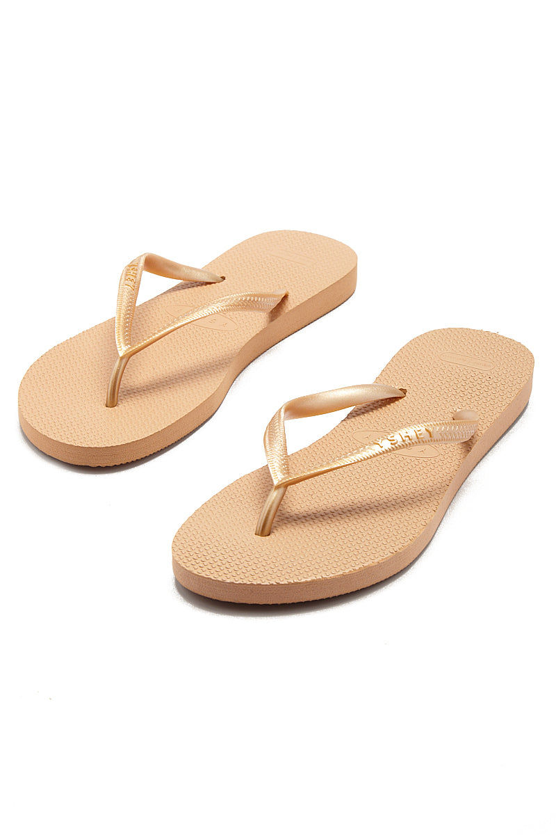 YSHEY Carol Rose Flip Flops Accessories | Rose Gold| YSHEY Carol Flip Flops - set view versatile and comfortable rubber flip flop, rose gold mesh strips