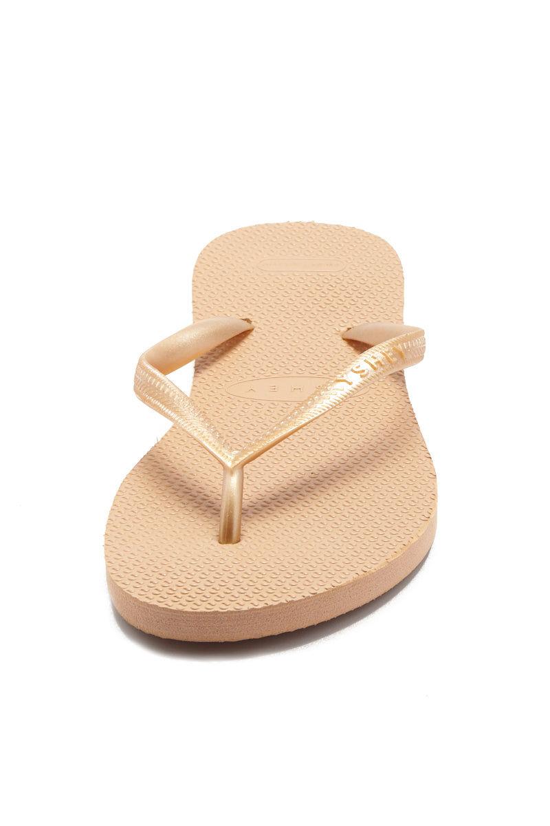 YSHEY Carol Rose Flip Flops Accessories | Rose Gold| YSHEY Carol Flip Flops - front view versatile and comfortable rubber flip flop, rose gold mesh strips