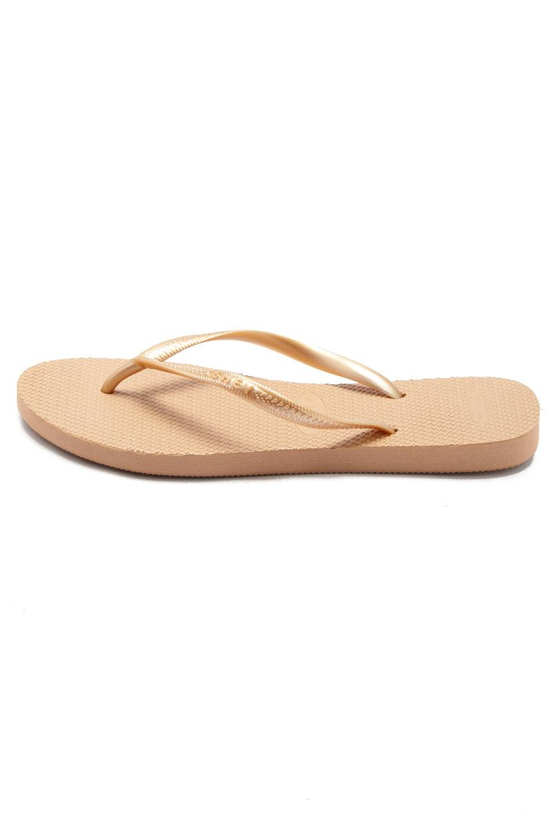 YSHEY Carol Rose Flip Flops Accessories | Rose Gold| YSHEY Carol Flip Flops - side view versatile and comfortable rubber flip flop, rose gold mesh strips