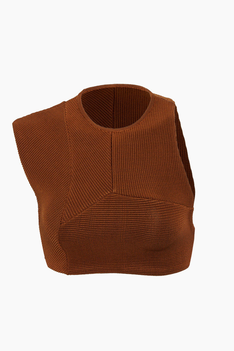 HAIGHT Multi Cuts High Neck Knit Bikini Top - Caramel Brown Bikini Top | Caramel Brown| Haight Multi Cuts High Neck Knit Bikini Top - Caramel Brown Features:  High neckline  Asymmetric cut bikini top  Front View