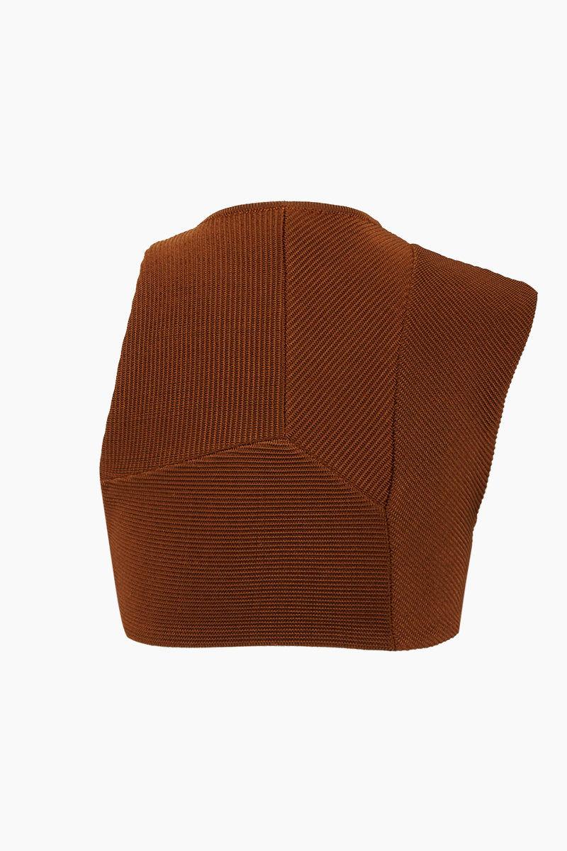 HAIGHT Multi Cuts High Neck Knit Bikini Top - Caramel Brown Bikini Top | Caramel Brown| Haight Multi Cuts High Neck Knit Bikini Top - Caramel Brown Features:  High neckline  Asymmetric cut bikini top  Back View