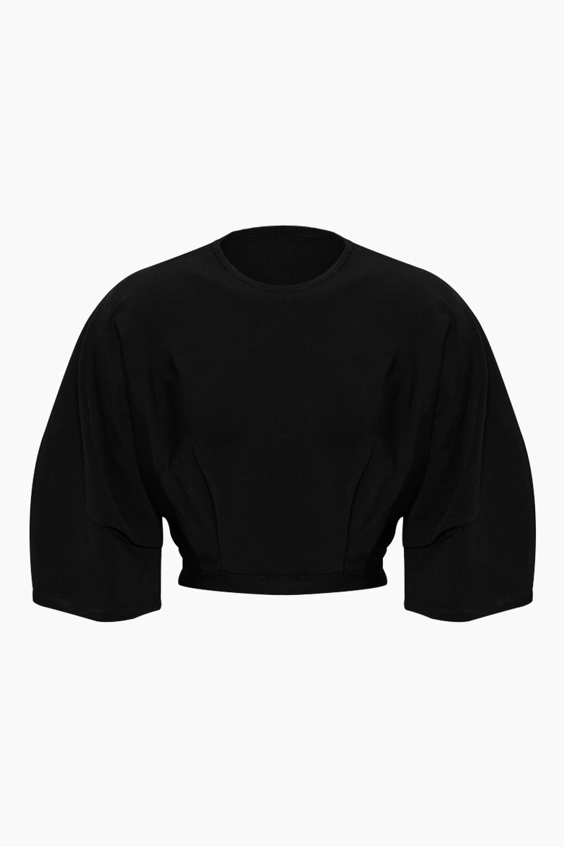 HAIGHT Inner Pleated Knit Top - Black Top   Black  Haight Inner Pleated Knit Bikini Top - Black Crew neckline  Sleeves to elbow length Pleated detail Front View