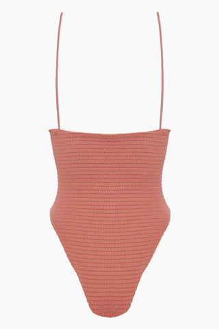 SIE SWIM Carter Smocked High Cut One Piece Swimsuit - Mauve Pink One Piece | Mauve Pink| Sie Swim Carter Smocked High Cut One Piece Swimsuit - Mauve Pink V neckline  Thin shoulder straps High cut leg  Skimpy coverage Back View