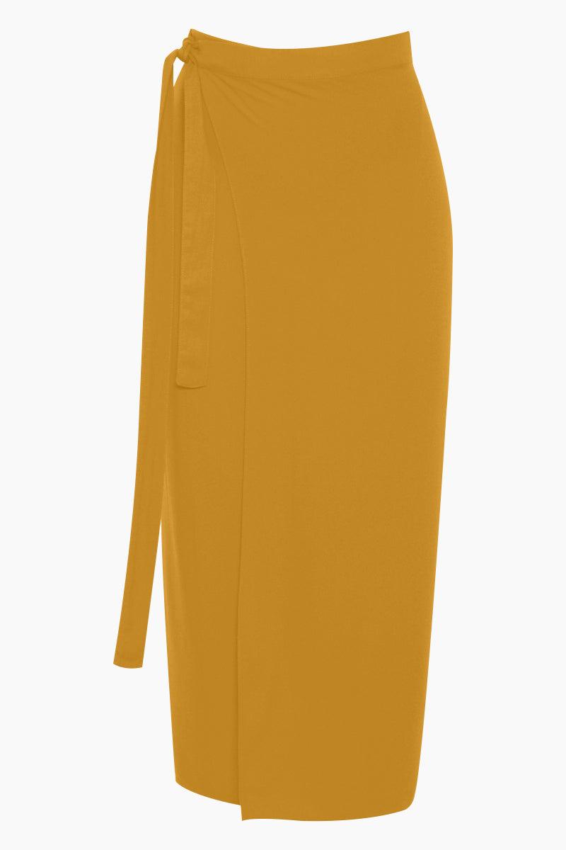 HAIGHT Mid Sarong Skirt - Mustard Yellow Skirt   Mustard Yellow  Haight Mid Sarong - Mustard Yellow High waist skirt  Wrap tie detail Front View
