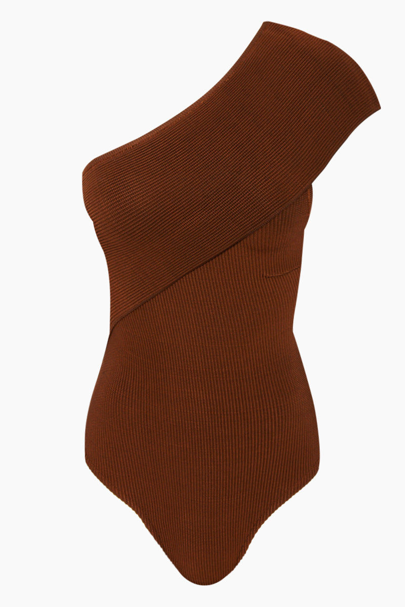 HAIGHT Tep One Shoulder Knit One Piece Swimsuit - Caramel Brown One Piece | Caramel Brown| Haight Tep One Shoulder Knit One Piece Swimsuit - Caramel Brown One shoulder one piece Fold over detail  Cheeky-moderate coverage  Front View
