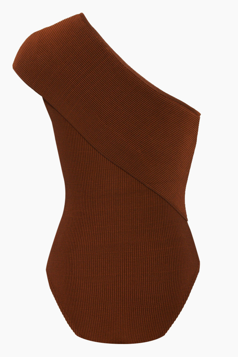 HAIGHT Tep One Shoulder Knit One Piece Swimsuit - Caramel Brown One Piece | Caramel Brown| Haight Tep One Shoulder Knit One Piece Swimsuit - Caramel Brown One shoulder one piece Fold over detail  Cheeky-moderate coverage Back View