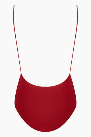 HAIGHT Thin Strap One Piece Swimsuit - Cherry Red One Piece | Cherry Red| Haight Thin Strap One Piece Swimsuit - Cherry Red Scoop neckline  Thin back straps  Cheeky coverage  Back View