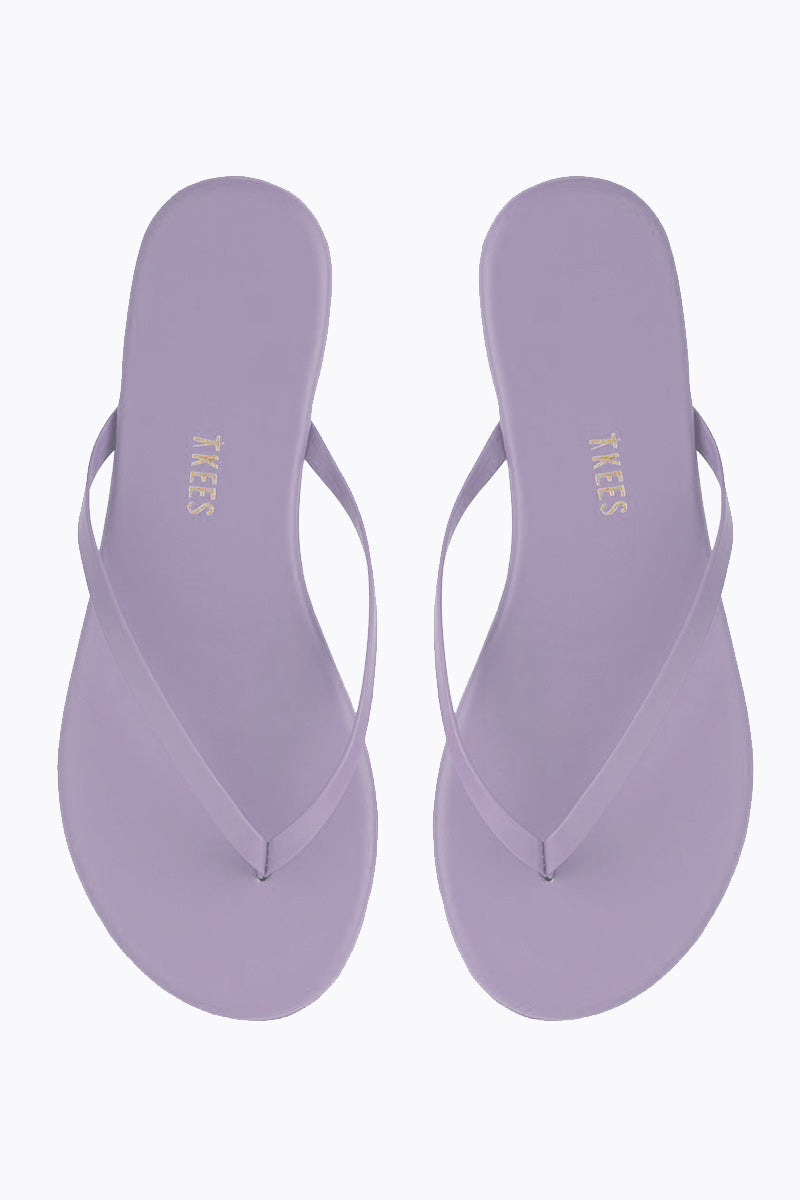 TKEES Solids Sandals - No. 12 Purple Sandals | No. 12 Purple| Tkees Solids Sandals - No. 12 Purple Classic Flip Flops in Light Purple Color Made in Brazil    Material:  Leather Upper Leather Insole Rubber Outsole Front View