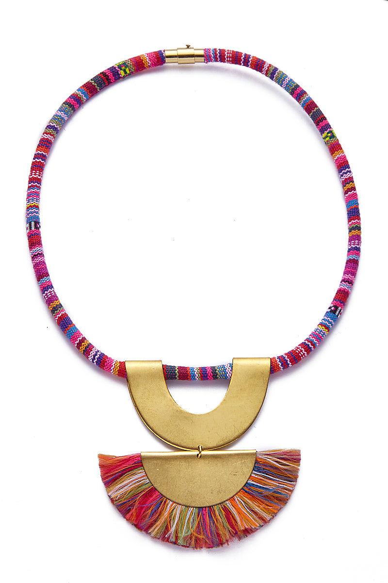 SANDY HYUN Rainbow Tassel Pendant Necklace Jewelry | Sandy Hyun Rainbow Necklace Full View